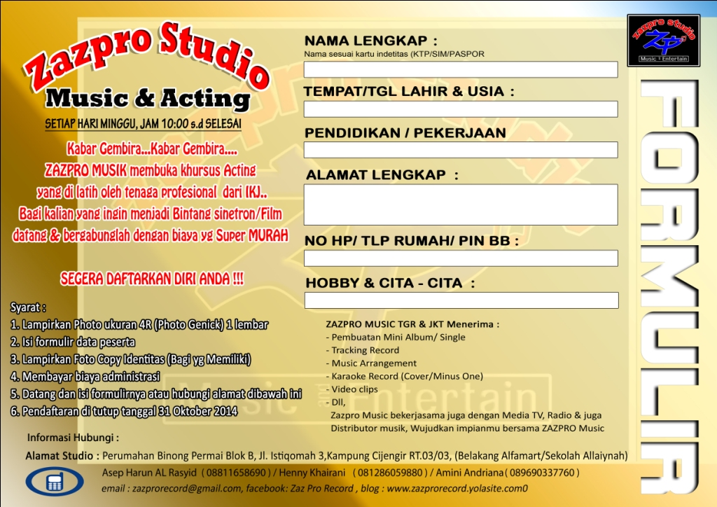 Kursus Acting Zazpro Studio Music Entertain